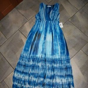 Calvin Klein Blue Tie Dye Sleeveless Maxi Dress 2